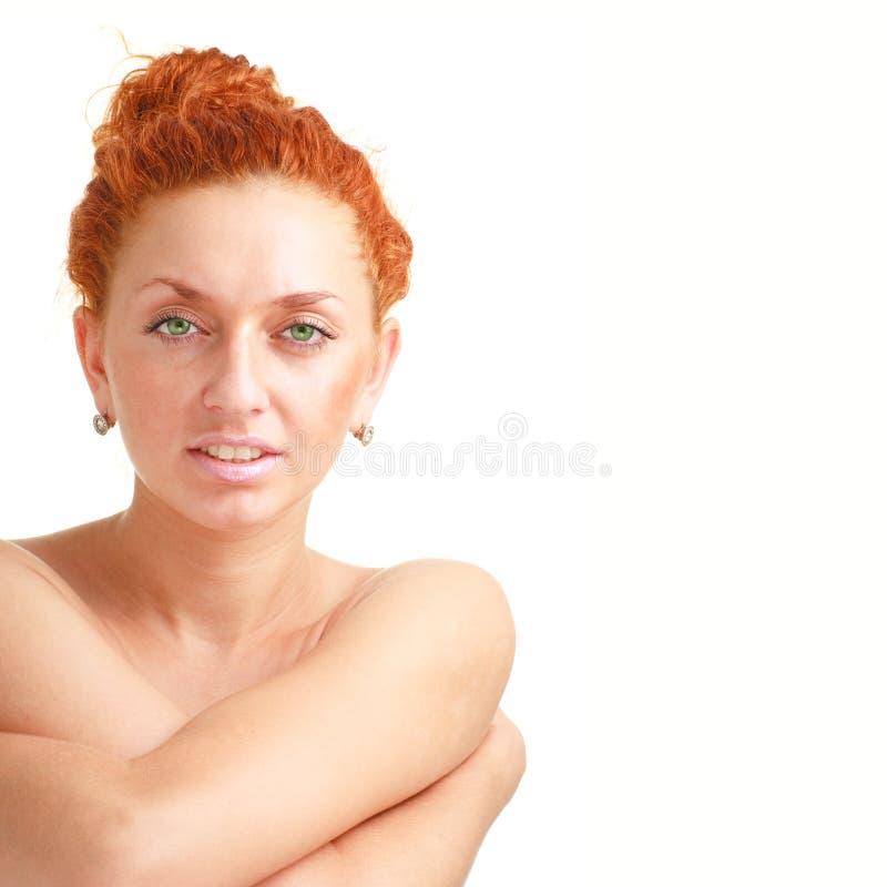 Aantrekkelijke rode haired vrouwen dichte omhooggaand stock foto
