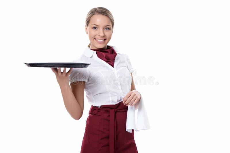 Aantrekkelijke serveerster stock afbeelding