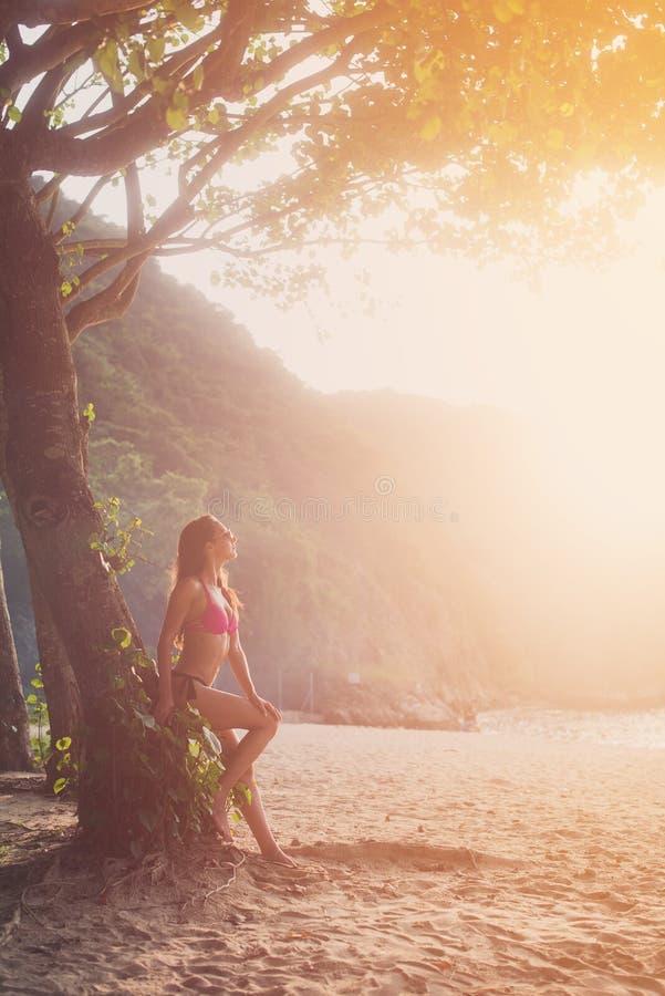 Aantrekkelijke slanke vrouwelijke toerist in bikini die tegen boom met groene wildernissen op achtergrond leunen die helder de he stock afbeelding