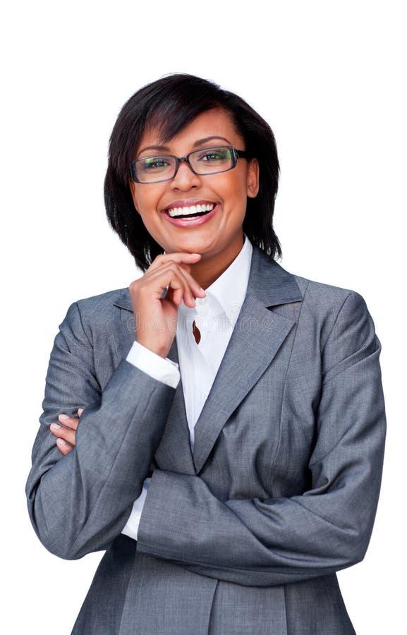 Aantrekkelijke Spaanse onderneemster die glazen draagt stock foto