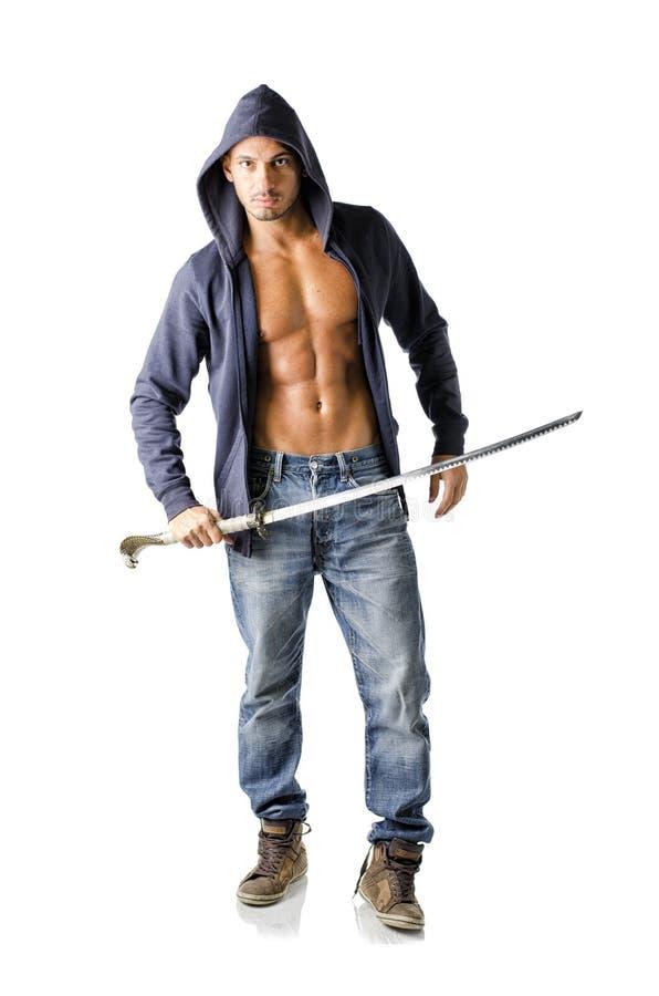 Aantrekkelijke, spier geïsoleerde bouwvakker met open sweatshirt, stock foto's