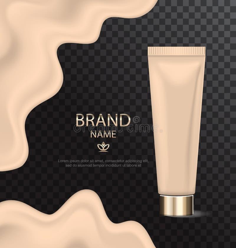 Aantrekkelijke Textuur van Stichting, Glanzend Cosmetische product vector illustratie