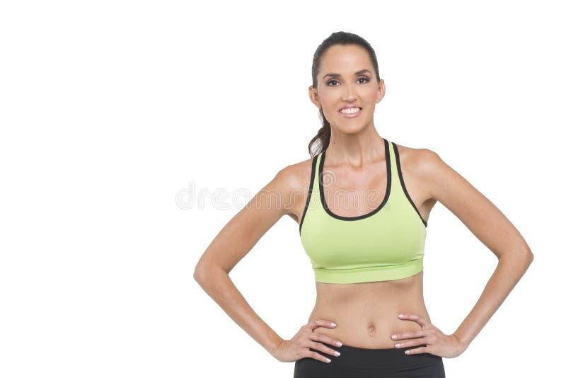 Aantrekkelijke vrouw in atletische slijtage royalty-vrije stock afbeelding