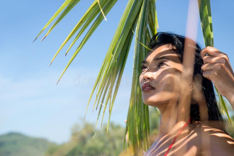 Aantrekkelijke vrouw die zich in het kader van een palmblad bevinden royalty-vrije stock fotografie