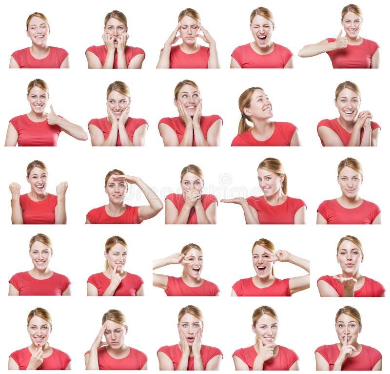 Aantrekkelijke vrouw met verschillende gebaren en emoties royalty-vrije stock foto