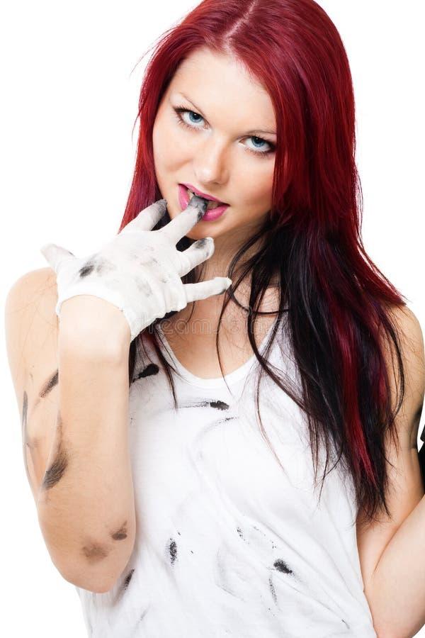 Aantrekkelijke vrouw met vuile kleren stock afbeeldingen