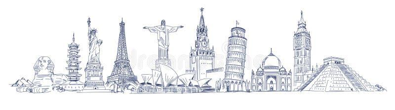 Aantrekkelijkheden van de wereld royalty-vrije illustratie