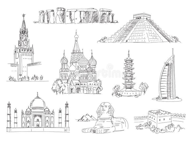 Aantrekkelijkheden van de wereld vector illustratie