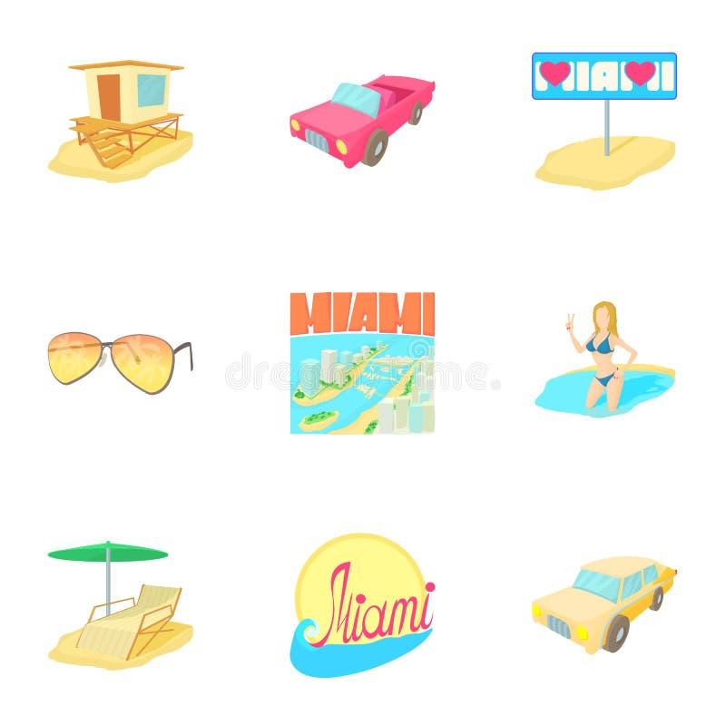 Aantrekkelijkheden van geplaatste de pictogrammen van Miami, beeldverhaalstijl stock illustratie