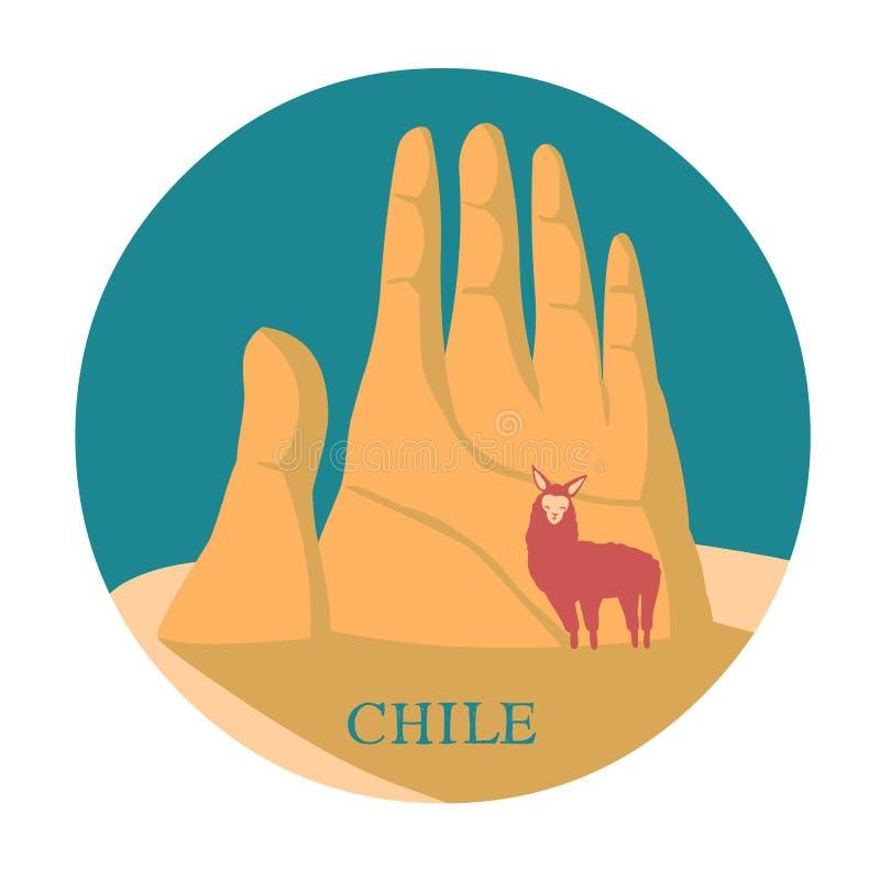 Aantrekkelijkheid aan Chili Dien de Andes in vector illustratie