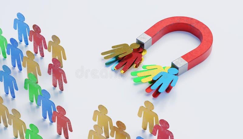 Aantrekkelijkheid van potencionalcliënten met magneet Het concept van de marketing 3D teruggegeven illustratie vector illustratie