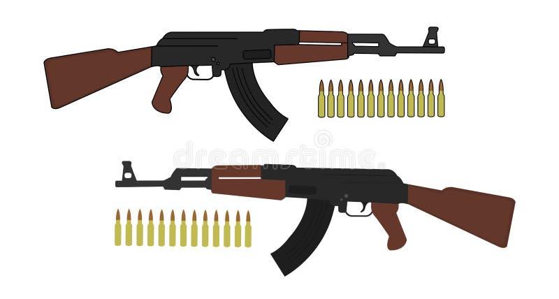 Aanvalsgeweer met kogels stock illustratie