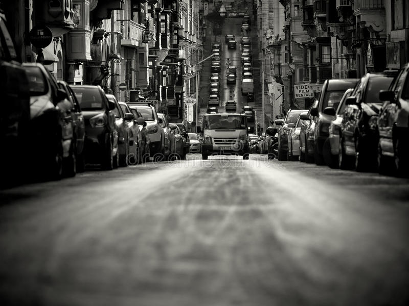 Aanvang zoals straatscène in Valletta royalty-vrije stock fotografie