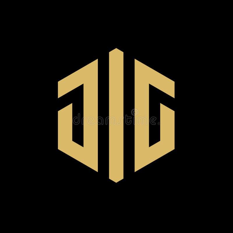 Aanvankelijk brievenkaliber of JOL hexagon embleem, goud op zwarte achtergrond, vectorillustratieontwerp royalty-vrije illustratie