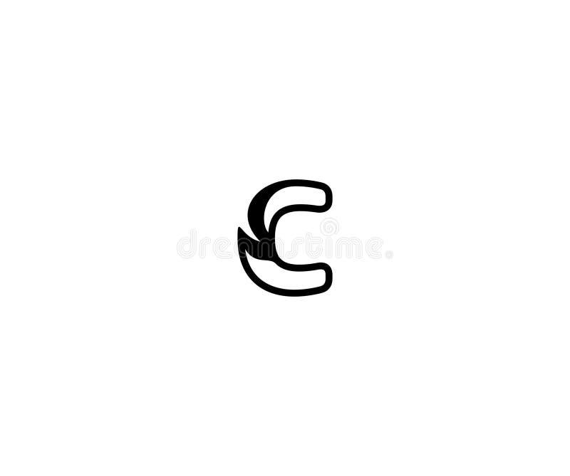 Aanvankelijk c-Brieven Modieus Concept Zwarte Lineaire Logotype royalty-vrije illustratie