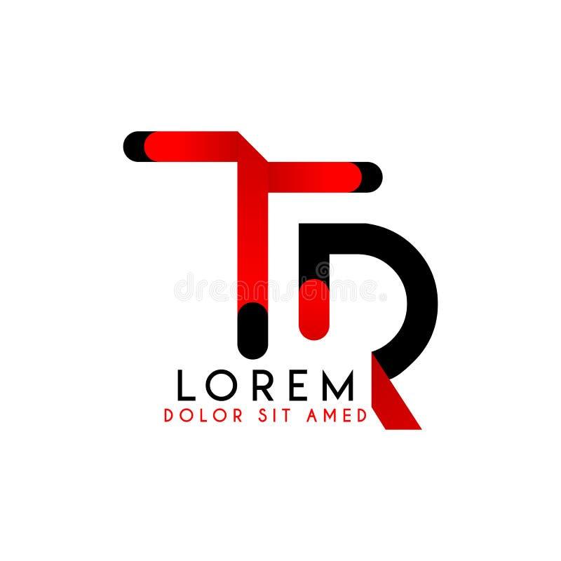 Aanvankelijk Embleem RT Rood Zwart Eenvoudig Logo Design In hoofdletters 1 stock illustratie