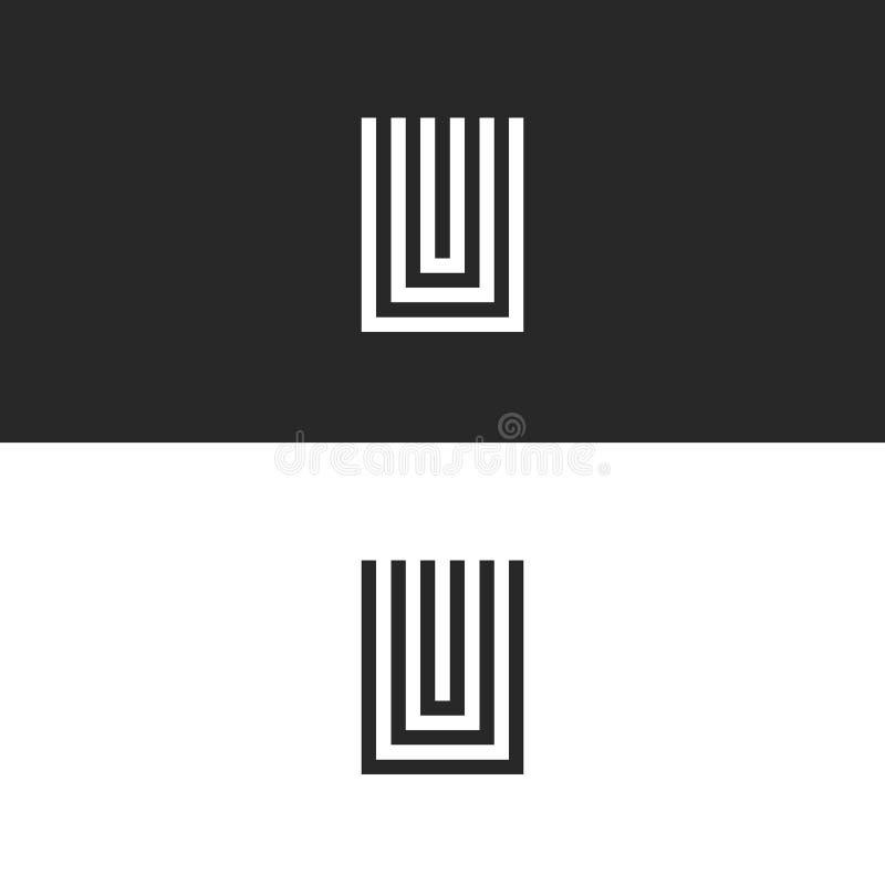 Aanvankelijk het embleemmonogram van U van de hipsterbrief, zwart-wit vastgesteld teken UUU voor adreskaartje, het element van he stock illustratie