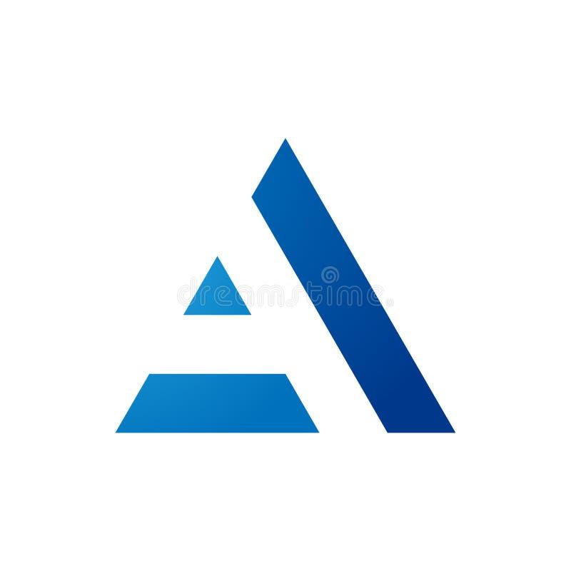 Aanvankelijk het embleemontwerp van de driehoeksbrief A vector illustratie