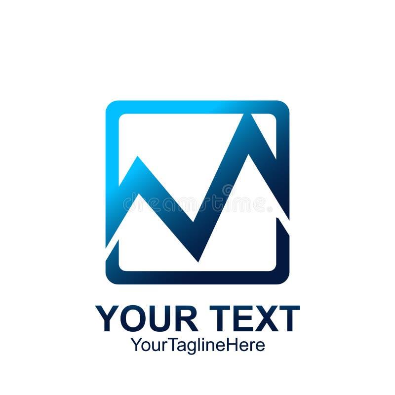 Aanvankelijk het malplaatje kleurrijk vierkant ontwerp van het brievenm embleem voor busine vector illustratie