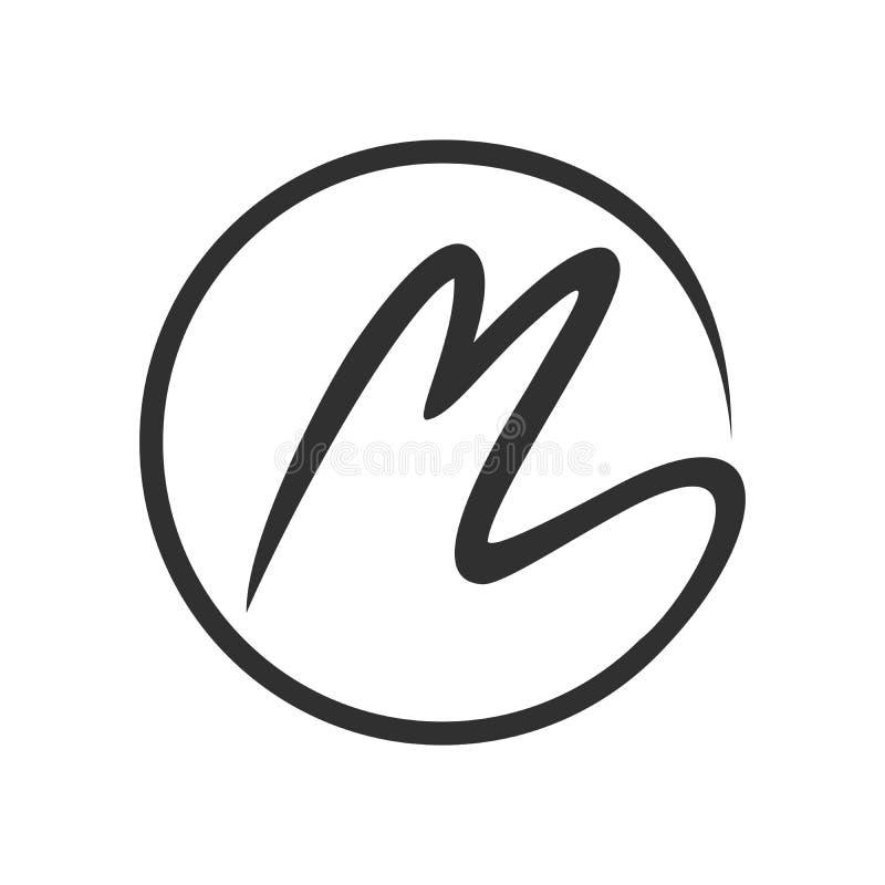 Aanvankelijk het Symboolontwerp van M Stroke Circle Lettermark stock illustratie