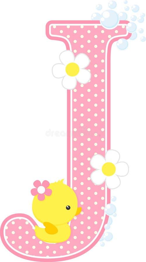 Aanvankelijk j met bloemen en leuke rubbereend stock illustratie