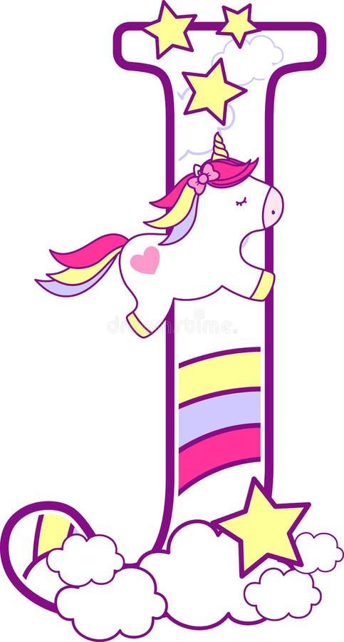 Aanvankelijk j met leuke eenhoorn en regenboog royalty-vrije illustratie