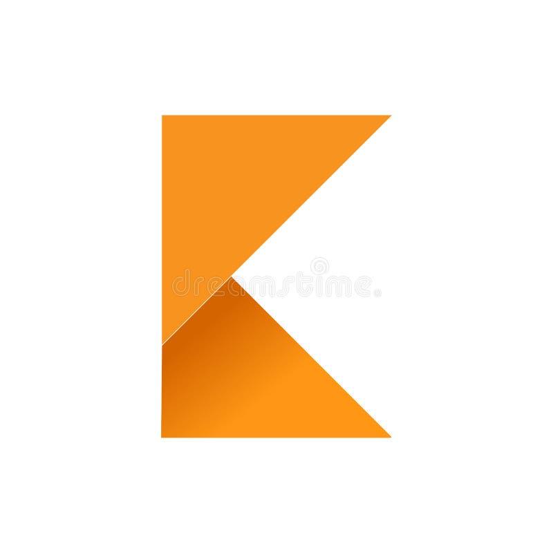 Aanvankelijk K Gevouwen Document Symbool stock illustratie