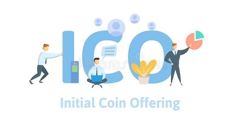 Aanvankelijk Muntstuk die, ICO aanbieden Concept met computergebruiker, brieven en pictogrammen Vlakke vectorillustratie op witte royalty-vrije illustratie