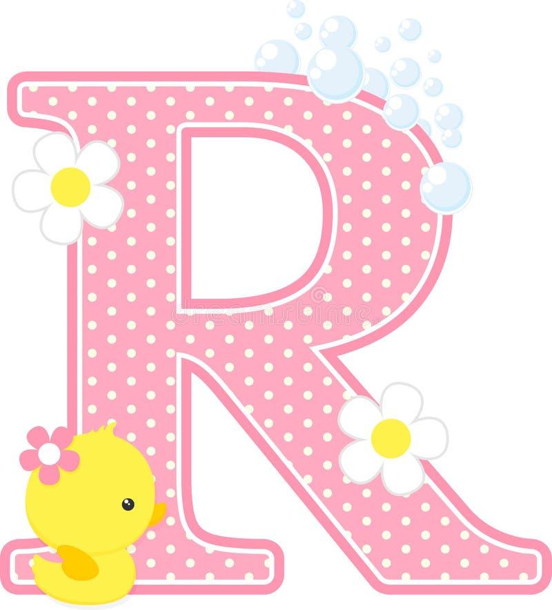 Aanvankelijk r met bloemen en leuke rubbereend stock illustratie