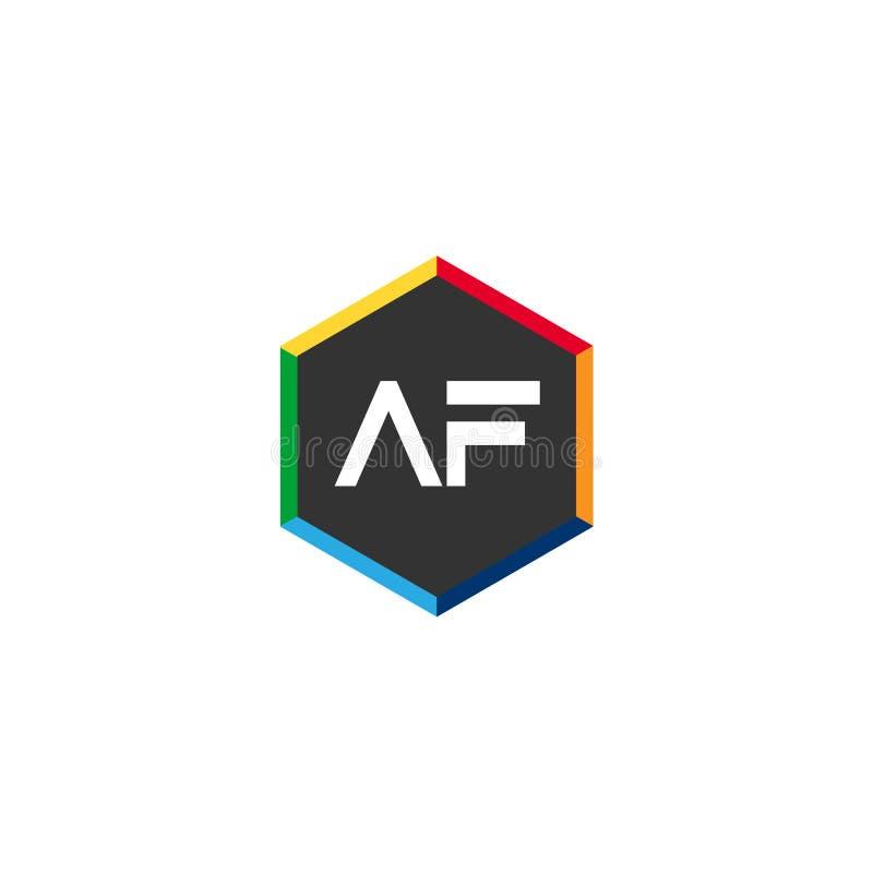 Aanvankelijke Brief AF Logo Template Vector Design stock illustratie
