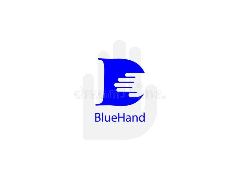 Aanvankelijke Brief D met hand blauw en wit Ontwerp Logo Graphic Branding Letter Element vector illustratie