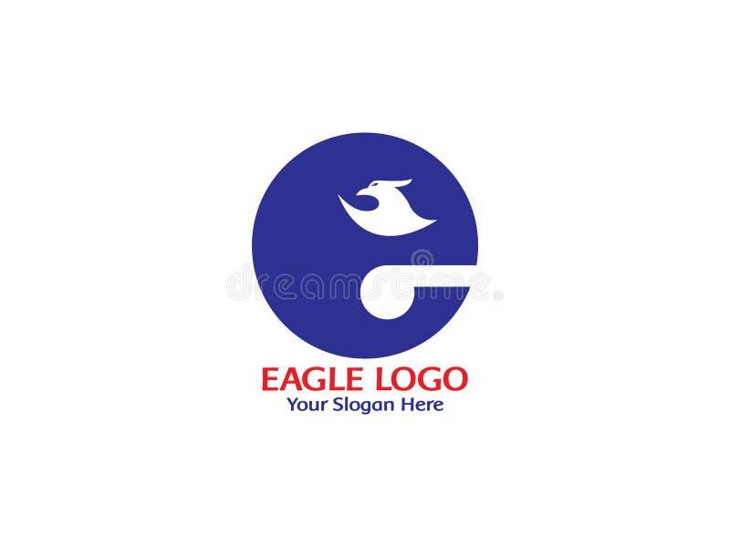 Aanvankelijke brief E met Eagle op hoogste embleem vector, witte achtergrond vector illustratie