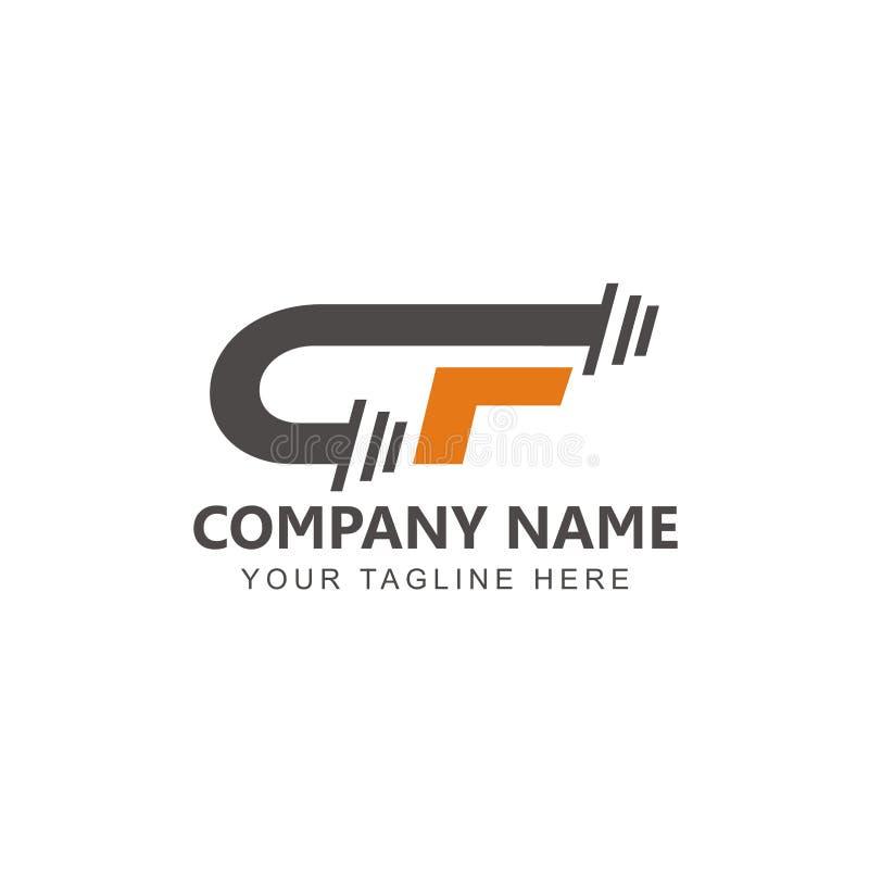 Aanvankelijke GF-Geschiktheid Logo Design Inspiration royalty-vrije illustratie