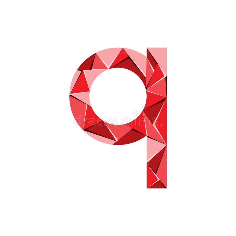 Aanvankelijke het embleemvector van de brievenq abstracte driehoek stock illustratie
