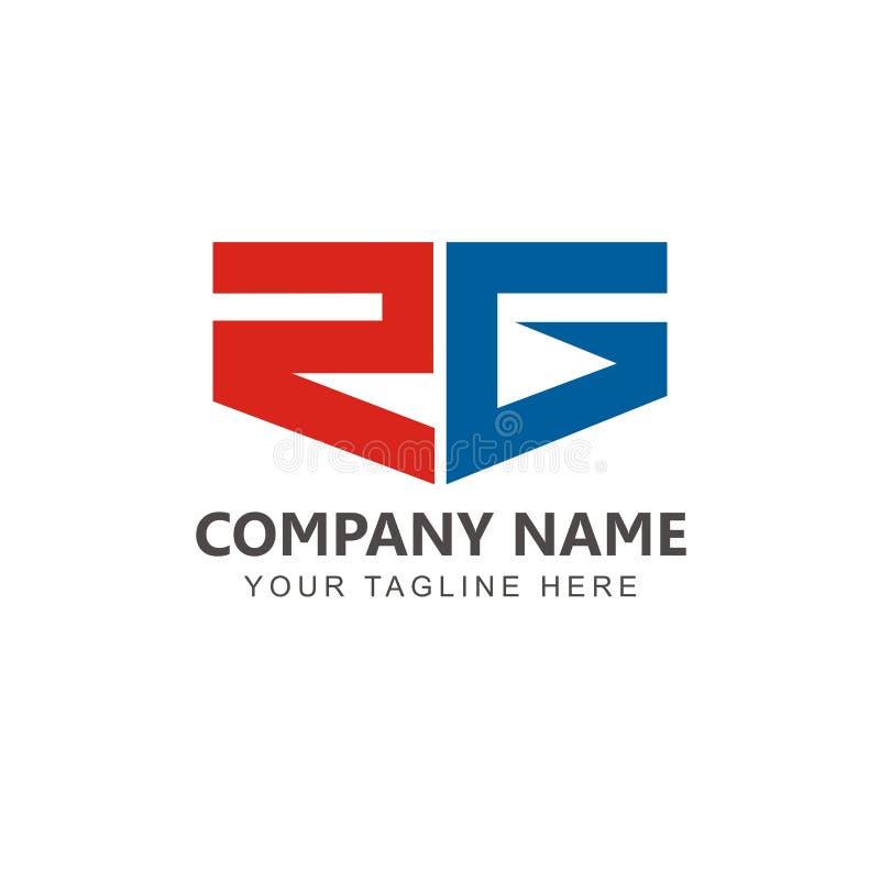 Aanvankelijke RG-de inspiratievector van het embleemontwerp stock illustratie