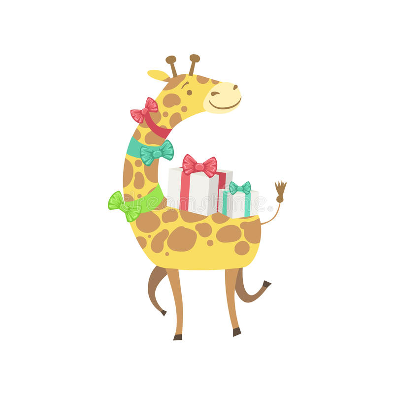 Aanwezige de Verjaardagspartij van het giraf Leuke Dierlijke Karakter royalty-vrije illustratie