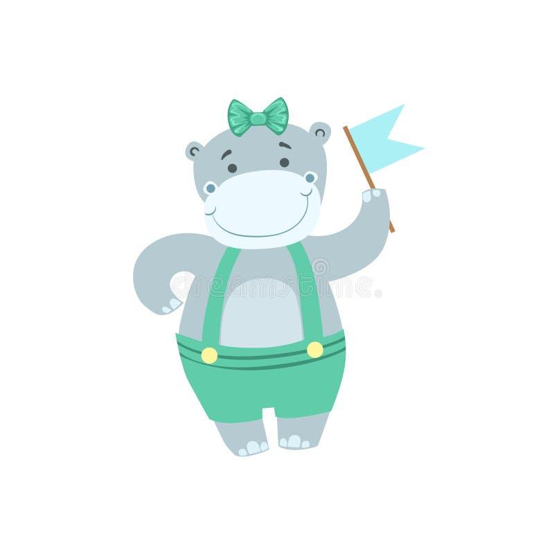 Aanwezige de Verjaardagspartij van het Hippo Leuke Dierlijke Karakter royalty-vrije illustratie