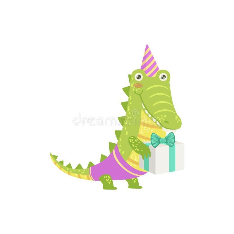 Aanwezige de Verjaardagspartij van het krokodil Leuke Dierlijke Karakter royalty-vrije illustratie
