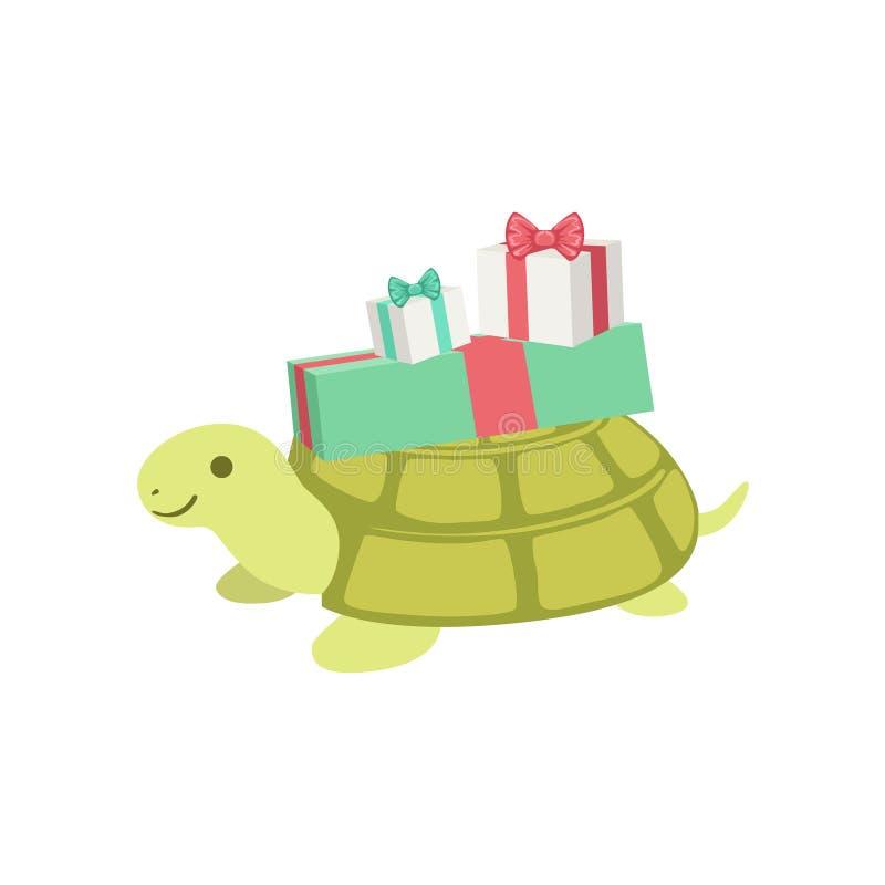 Aanwezige de Verjaardagspartij van het schildpad Leuke Dierlijke Karakter vector illustratie