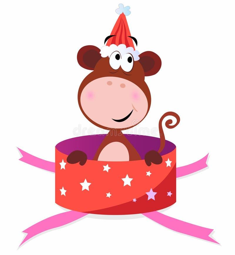Aanwezige Kerstmis: Aap in rode doos royalty-vrije illustratie