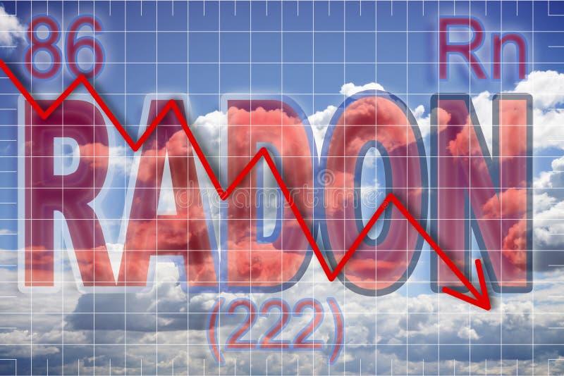 Aanwezigheid van radongas in de lucht - conceptenbeeld stock afbeeldingen
