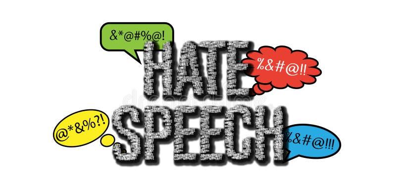 Aanzetten tot haat en praatjebellen op witte achtergrond royalty-vrije illustratie