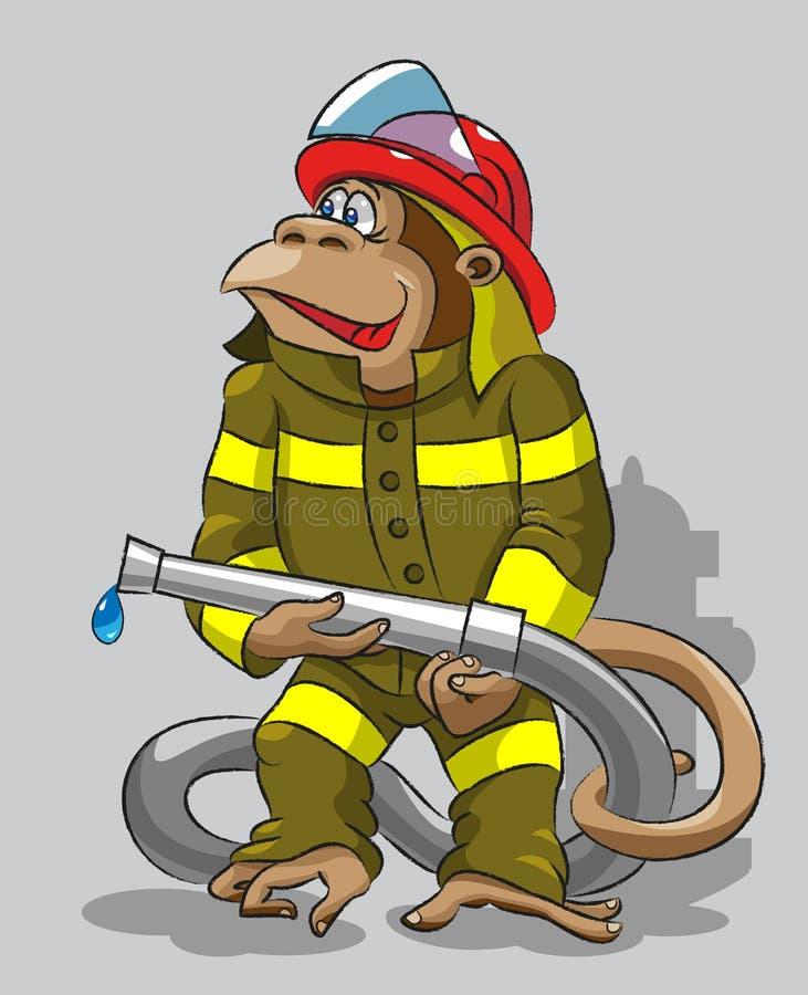 Aap - brandweerman stock illustratie