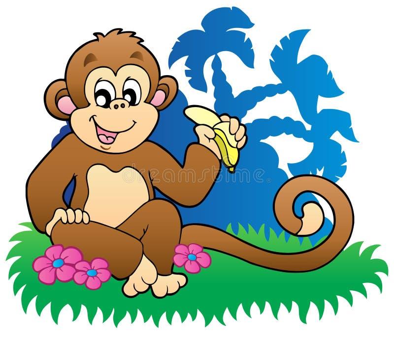 Aap die banaan eet dichtbij palmen vector illustratie