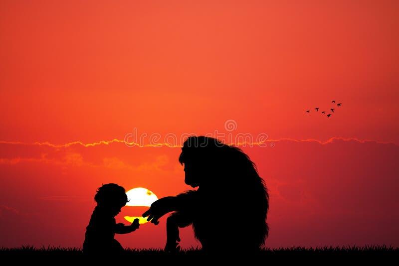 Aap en baby bij zonsondergang royalty-vrije illustratie