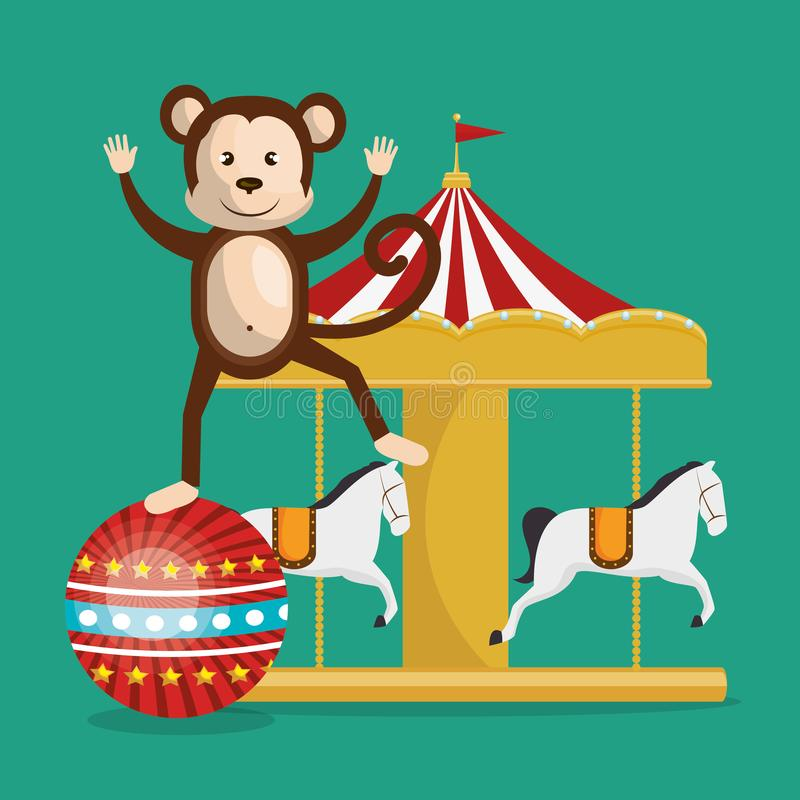 Aap en carrousel het circus toont stock illustratie