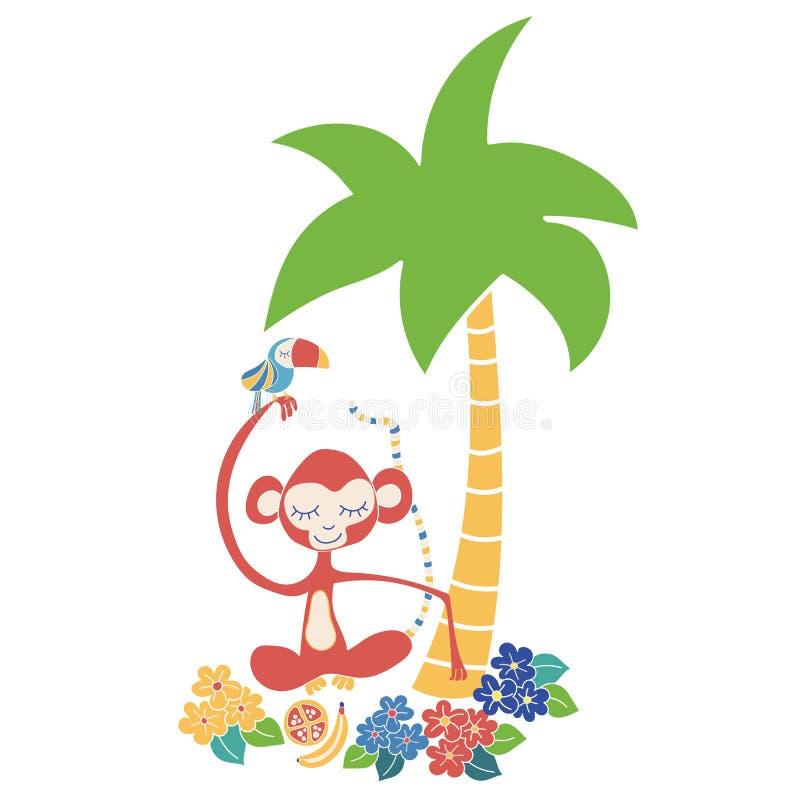 Aap en toekan tropische vectorillustratie Leuke wildernisdieren die onder een palm zitten Gebruik voor jonge geitjesmarkt, decor, vector illustratie