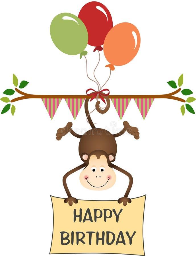 Aap gelukkige verjaardag met ballons vector illustratie
