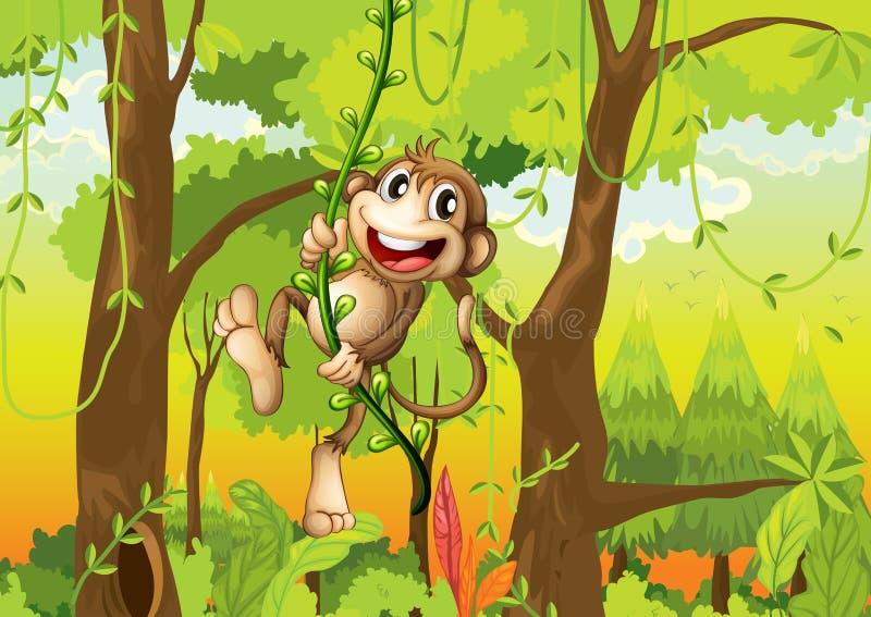 Aap in het bos stock illustratie