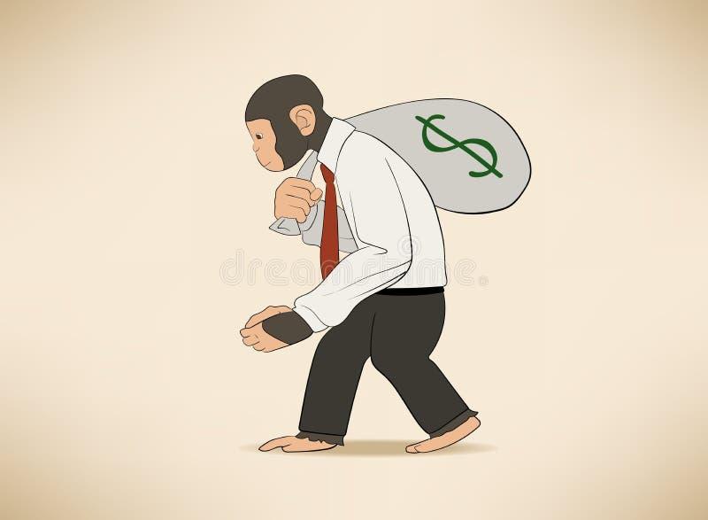 Aap met geldzak vector illustratie